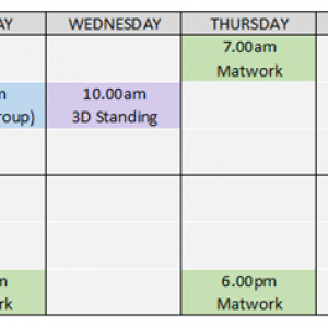 Pilates timetable -Oxford Street Health Group